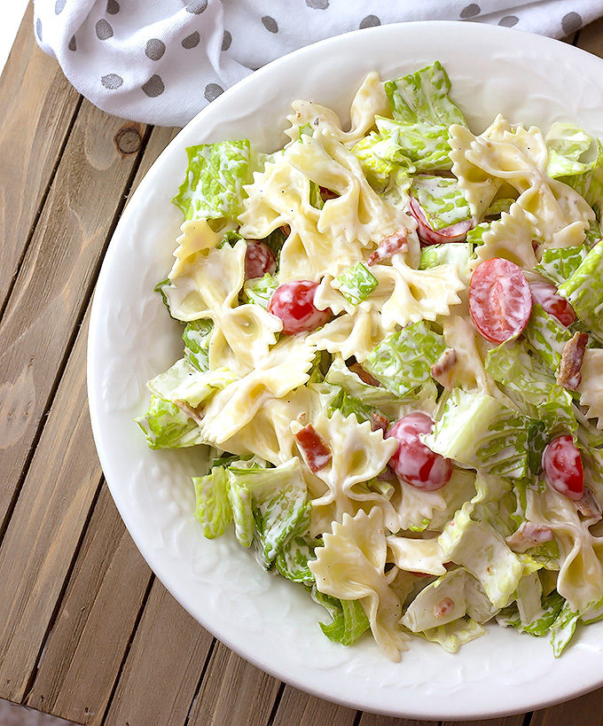 Ranch BLT Pasta Salad recipe in a white serving bowl