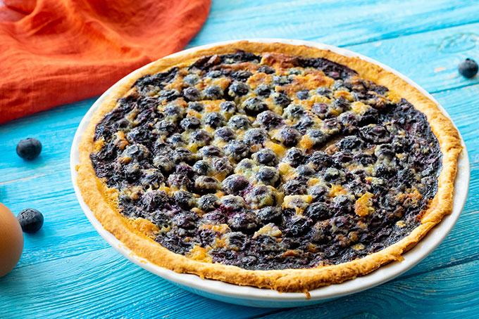 whole baked blueberry buttermilk pie
