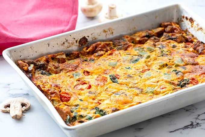 baking dish of loaded vegetable breakfast casserole