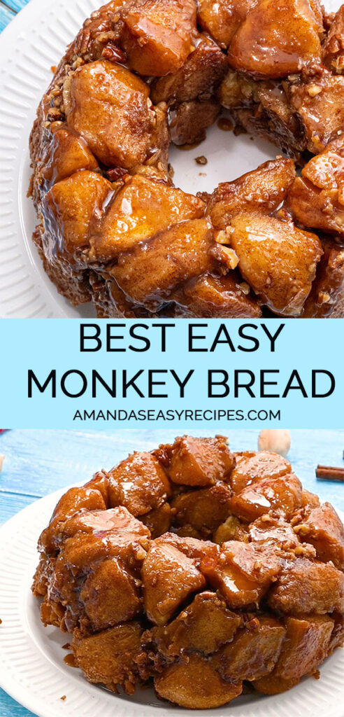 2 image collage with text showing monkey bread