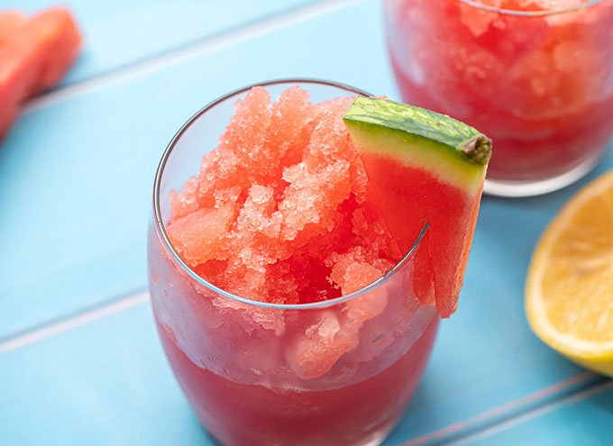 Glass full of watermelon smoothie