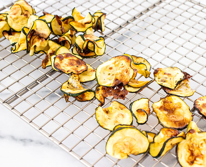 ranch zucchini chips on a cooling rack