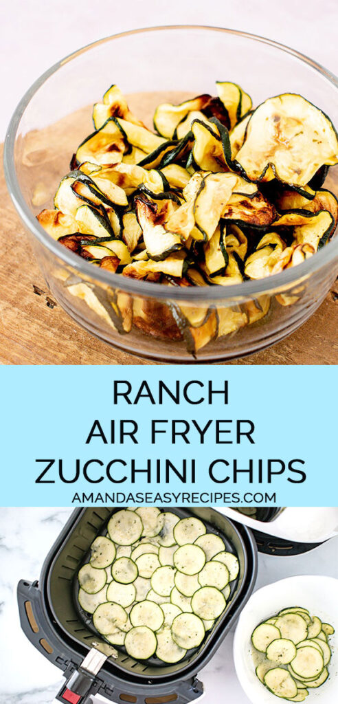 2 image collage with text overlay showing making ranch air fryer zucchini chips