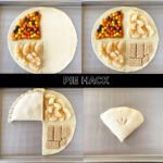 4 images of the apple pie hack with pie crust folded around 4 sections of pie fillings and toppings